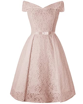 375736a0eb2 GAMISS Women s Off The Shoulder Lace Vintage Wedding Party Cocktail Dress -Apricot-Small