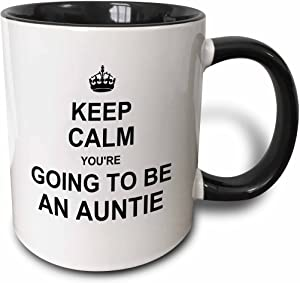 "3dRose 194457_4""Keep Calm You're Going Future Aunt Auntie Text Gift Mug, 11 oz, Black"
