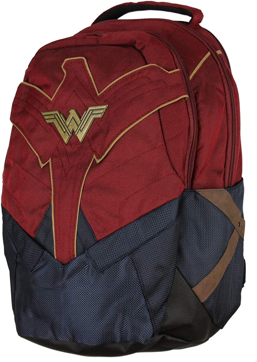 DC Comics Wonder Woman Backpack w Laptop Sleeve and Water Bottle Pockets