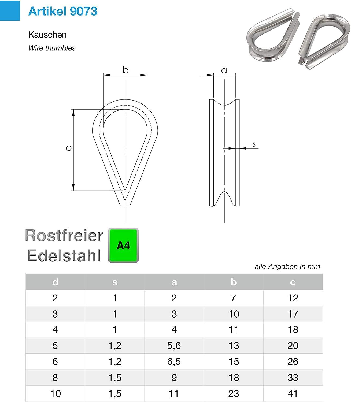 Alambre de acero inoxidable guardacabos 10/x Cuerda kauschen inoxidable Inox AISI316/V4/A Plateado