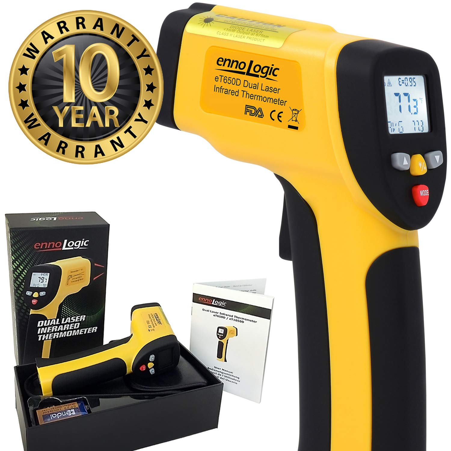 ennoLogic Temperature Gun Dual Laser Non-Contact Infrared Thermometer -58°F to 1202°F - NIST Option Available - Accurate Digital Surface IR ...