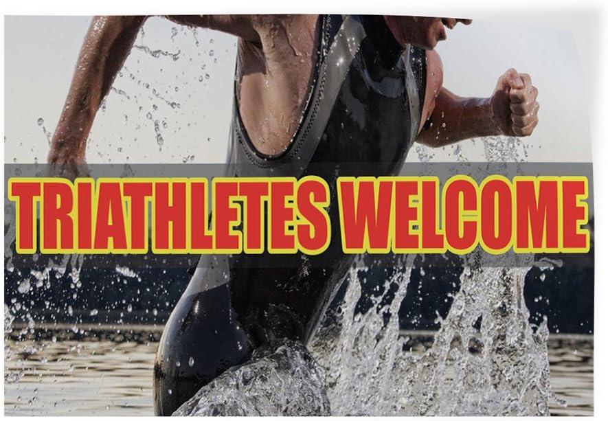 Decal Sticker Multiple Sizes Triathletes Welcome Lifestyle Triathletes Welcome Outdoor Store Sign White Set of 2 54inx36in