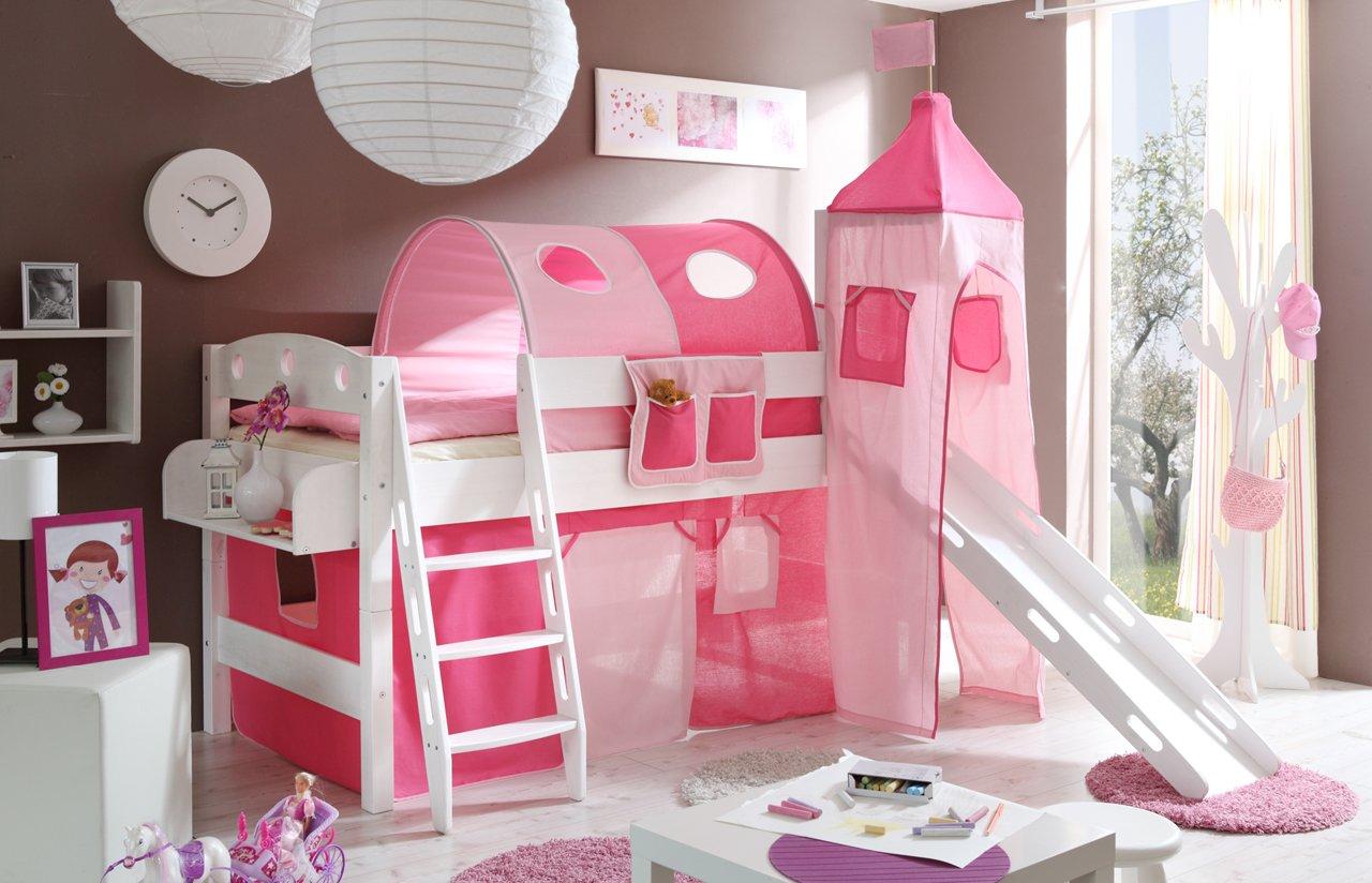 Hochbett mit Rutsche und Turm Spielbett Kenny Kiefer massiv Weiss teilbar mit Farbauswahl, Vorhangstoff:Rosa Pink 2 teilig
