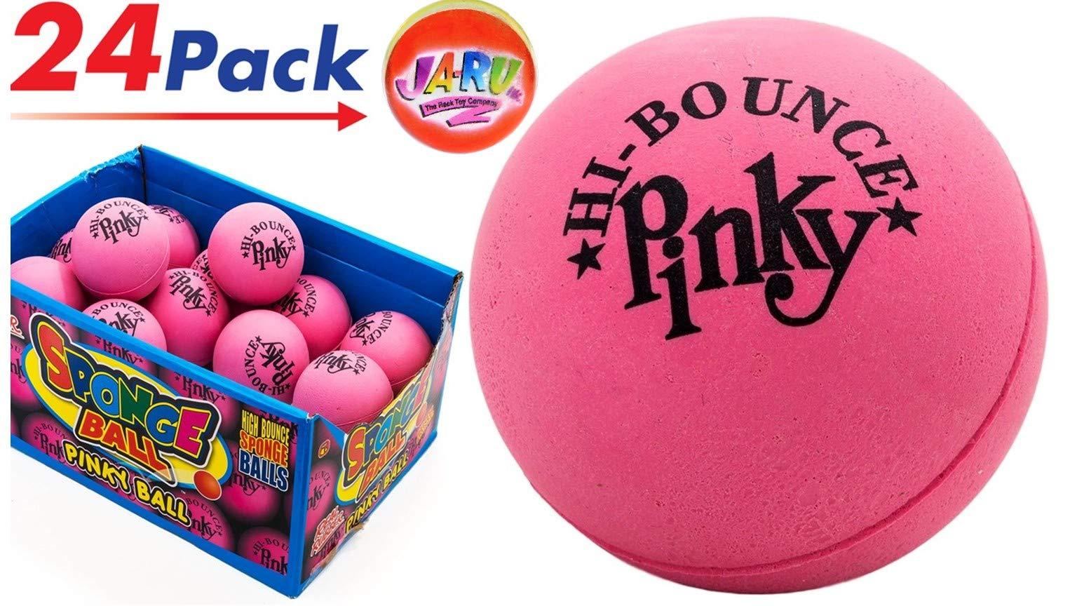 JA-RU Pinky Ball Massage (Pack of 24 with Display Box) Hi Bounce Pinky Ball 2.5'' Large Pink Rubber Ball Plus 1 Small Item #976-24p
