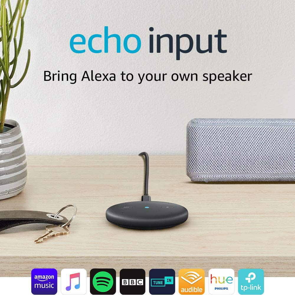 Echo Input (Black) – Bring Alexa to your own speaker – Requires an external  speaker with 3 5mm audio-input or Bluetooth