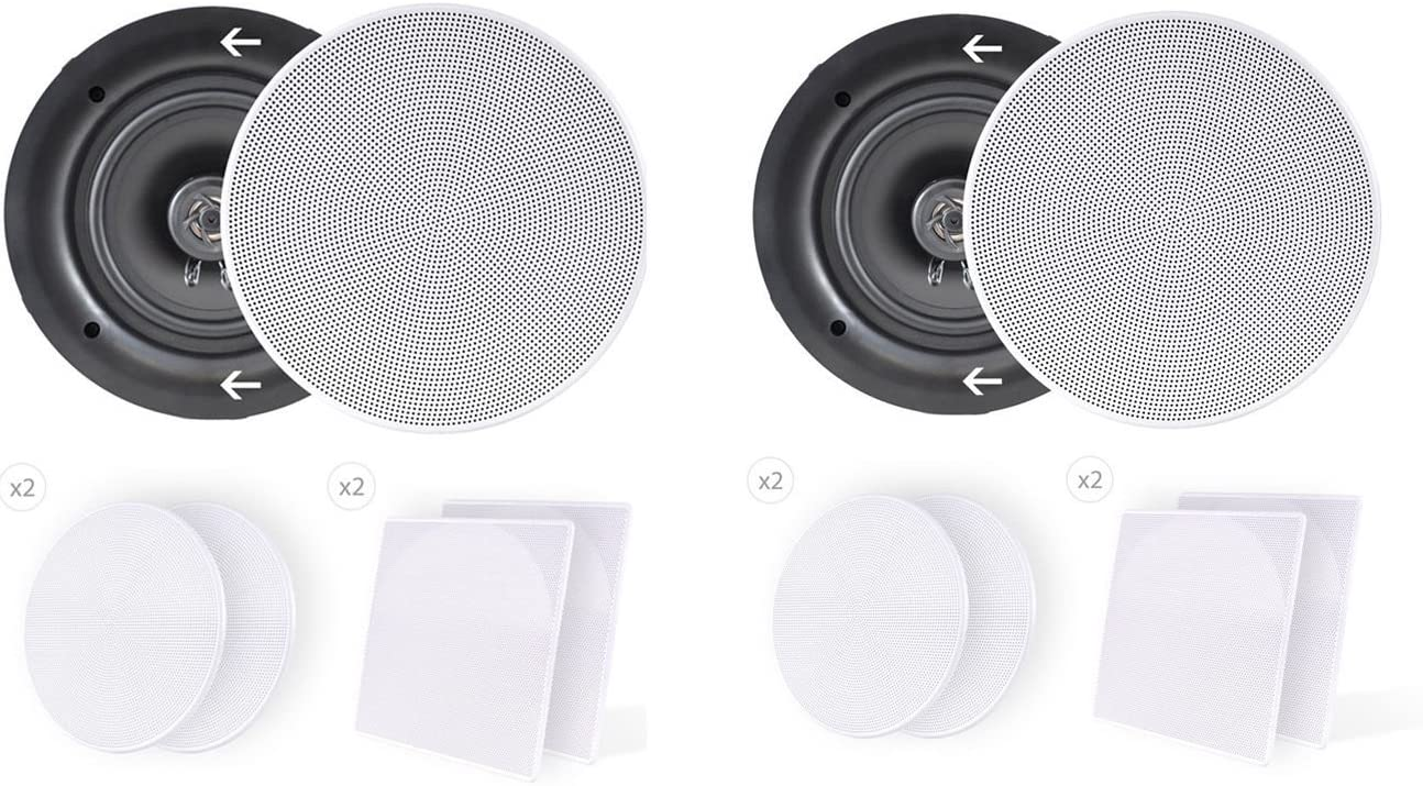 """4) Pyle PDIC66 6.5"""" 200W 2 Way Dual In-Wall/Ceiling Home Audio Speakers Stereo"""