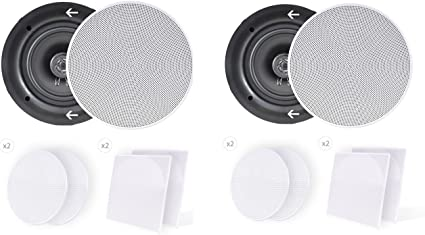 """4-PACK CEILING // IN WALL 6.5/""""  HI QUALITY SPEAKERS GREAT STEREO SOUND 4x"""