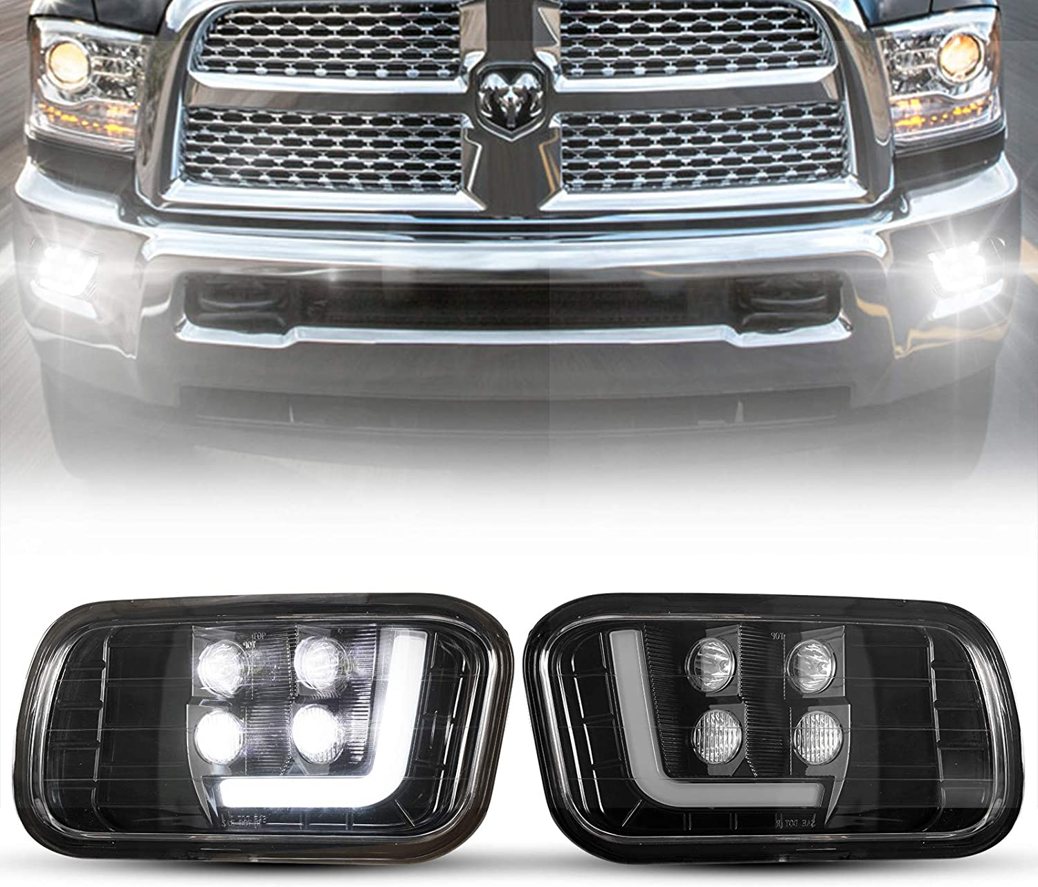 BUNKER INDUST Dodge Ram LED Fog Lights with Daytime Running Lights Set,1 Pair Clear Lens Spot Flood Driving Fog Lamps L-type DRL Replacement for Ram 2009-2012 1500,2010-2014 2500, 2010-2012 3500