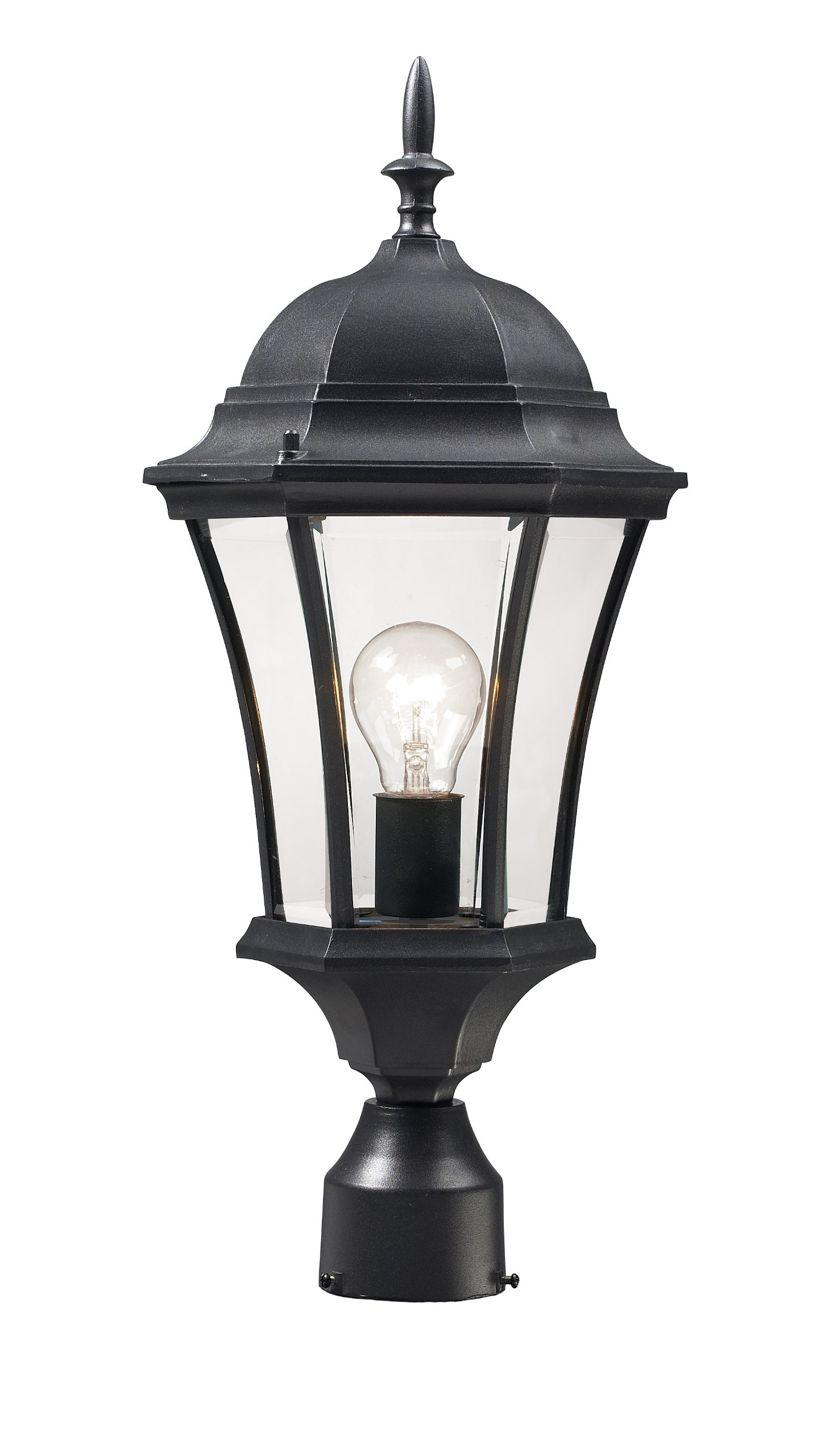 Z-Lite 522PHM-BK Wakefield Outdoor Post Light with Aluminum Frame, Black Finish and Clear Beveled Shade of Glass Material