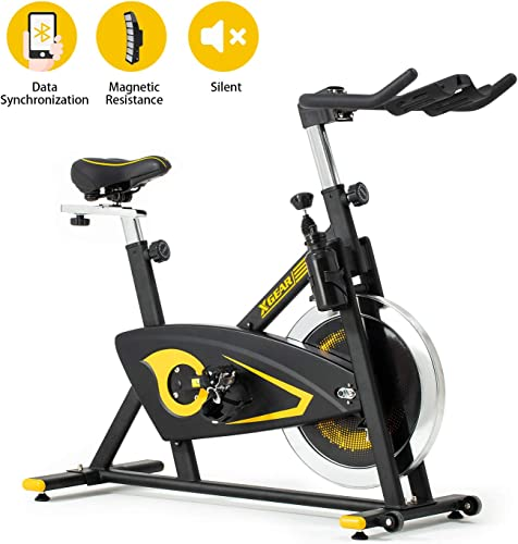 XGEAR Exercise Bike, Magnetic Resistance Spin Bike, Belt Drive Indoor Cycling Bike, Heavy Chromed Flywheel, Stationary Bike for Home Cardio Workout Aerobic Training