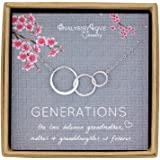 AnalysisyLove 3 Generations Necklace - Sterling Silver Interlocking Infinity 3 Circles Necklace for Grandma Mom Granddaughter, Birthday Jewelry