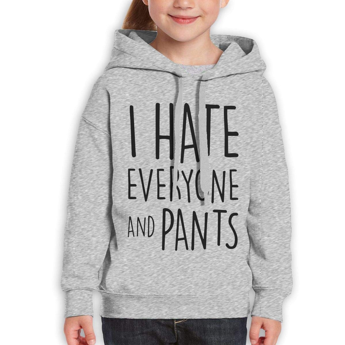 Boys Girls I Hate Everyone and Pants Teen Youth Hoodies Gray
