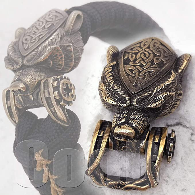 Bronze CooB Paracord Buckle Shackle TIGER PANTHER for Paracord Bracelet Bead