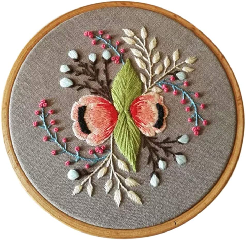 Line Embroidering Cross Stitch Beginner Kits with English Instructions Hoop 3 Pack Embroidery Starter Kits for Adults Beginners with Stamped Pattern Floral Series