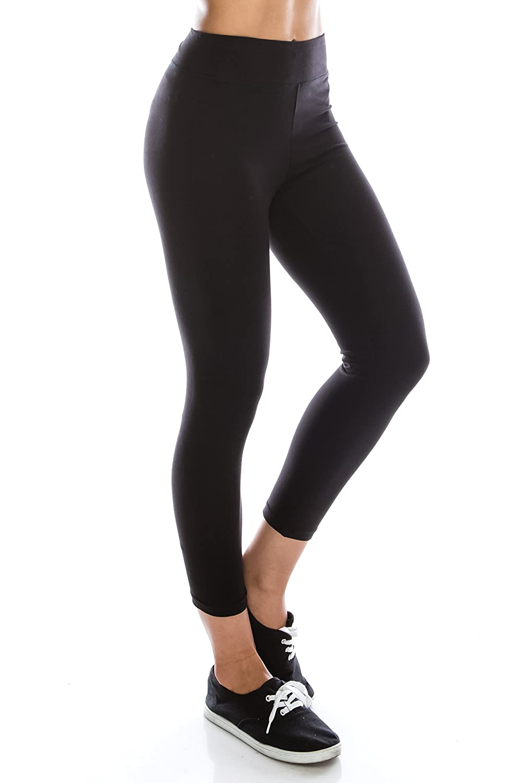 3cdd40308cb EttelLut Cotton Spandex Basic Leggings Pants-Jersey Full Capri Regular Plus  Size at Amazon Women s Clothing store
