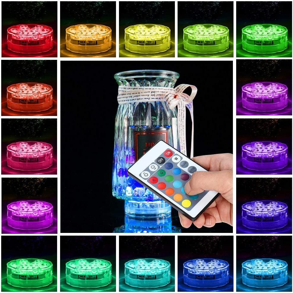 2 Pack Submersible LED Lights, 10 RGB LEDs 16 Colors Waterproof Underwater Lights with 2 Remote Control for Aquarium Vase Base Pond Pool Garden Home Party Wedding Christmas Decoration Browill
