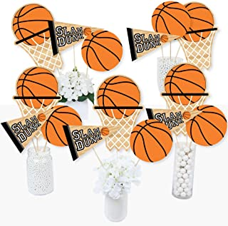 product image for Big Dot of Happiness Nothin' but Net - Basketball - Baby Shower or Birthday Party Centerpiece Sticks - Table Toppers - Set of 15