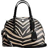 New Authentic COACH Peyton Zebra Print Cora Domed Satchel Convertible 33766 Black & Cream