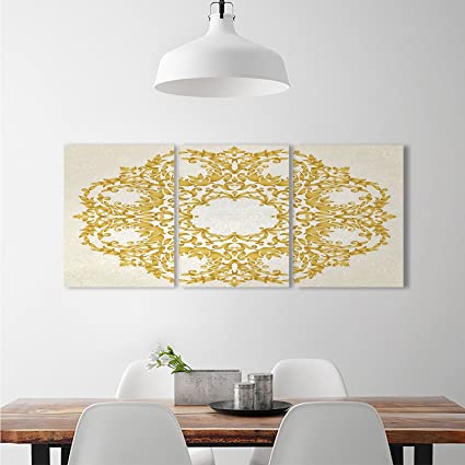 Victorian customize wall stickers Traditional Gold Floral Round ...