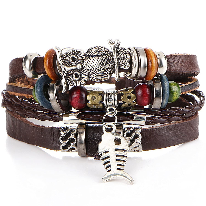 Women Men Vintage Handmade Beads Leather Pendent Cuff Bangle Bracelets Set Wristband Boho Jewelry