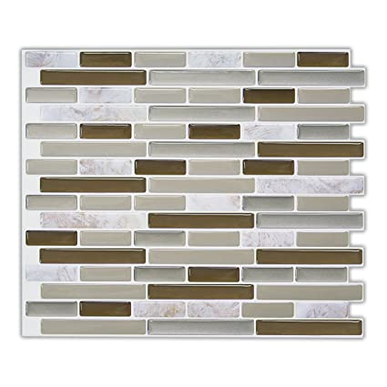 Amazon.com: Mosaic Peel and Stick Tile Backsplash, Grey Self ...