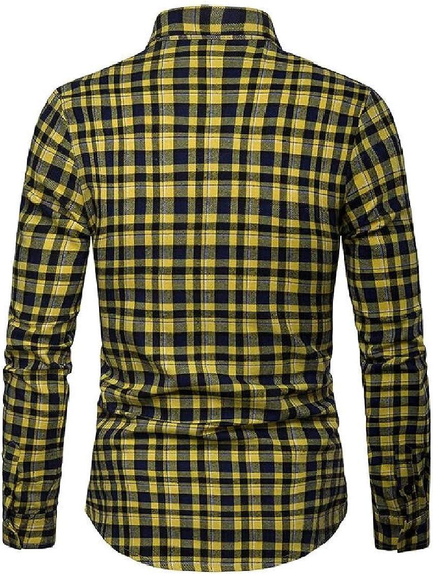 Sweatwater Mens Casual Plaid Long-Sleeve No Iron Slim Shirts