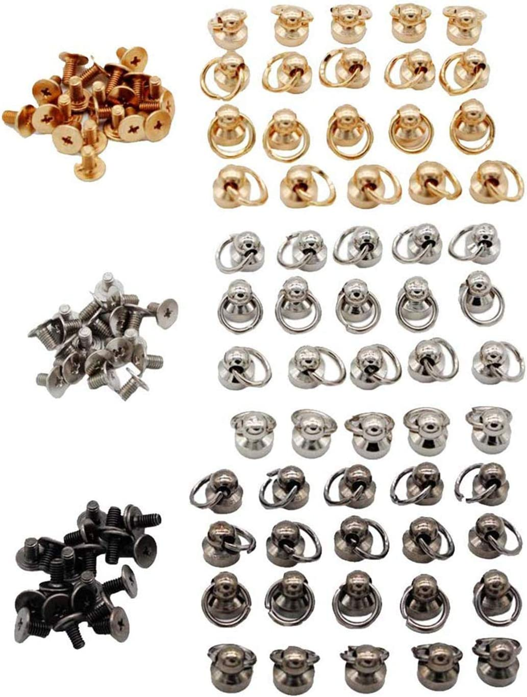 8mm Myriad Choices 20 Sets Ball Post with O Ring Rivet Stud Round Head Screw Back DIY Leather Craft Silver