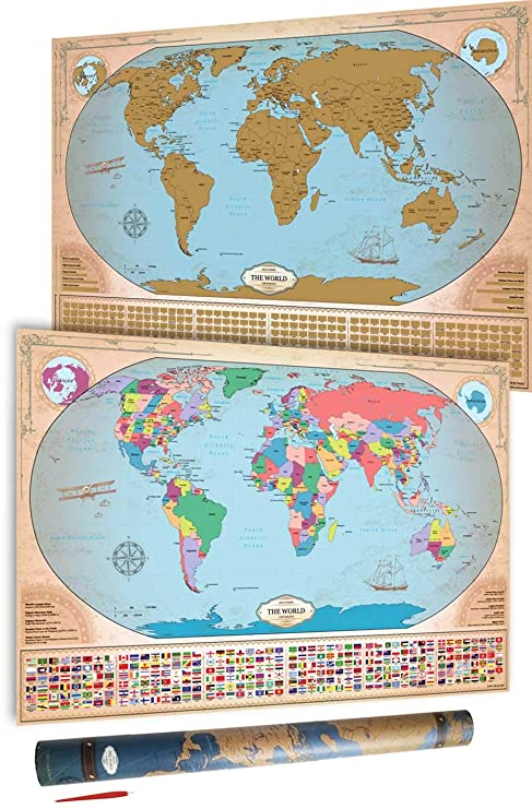 Large Map Of Australia.Scratch Off World Map Vintage Deluxe States Provinces For Us