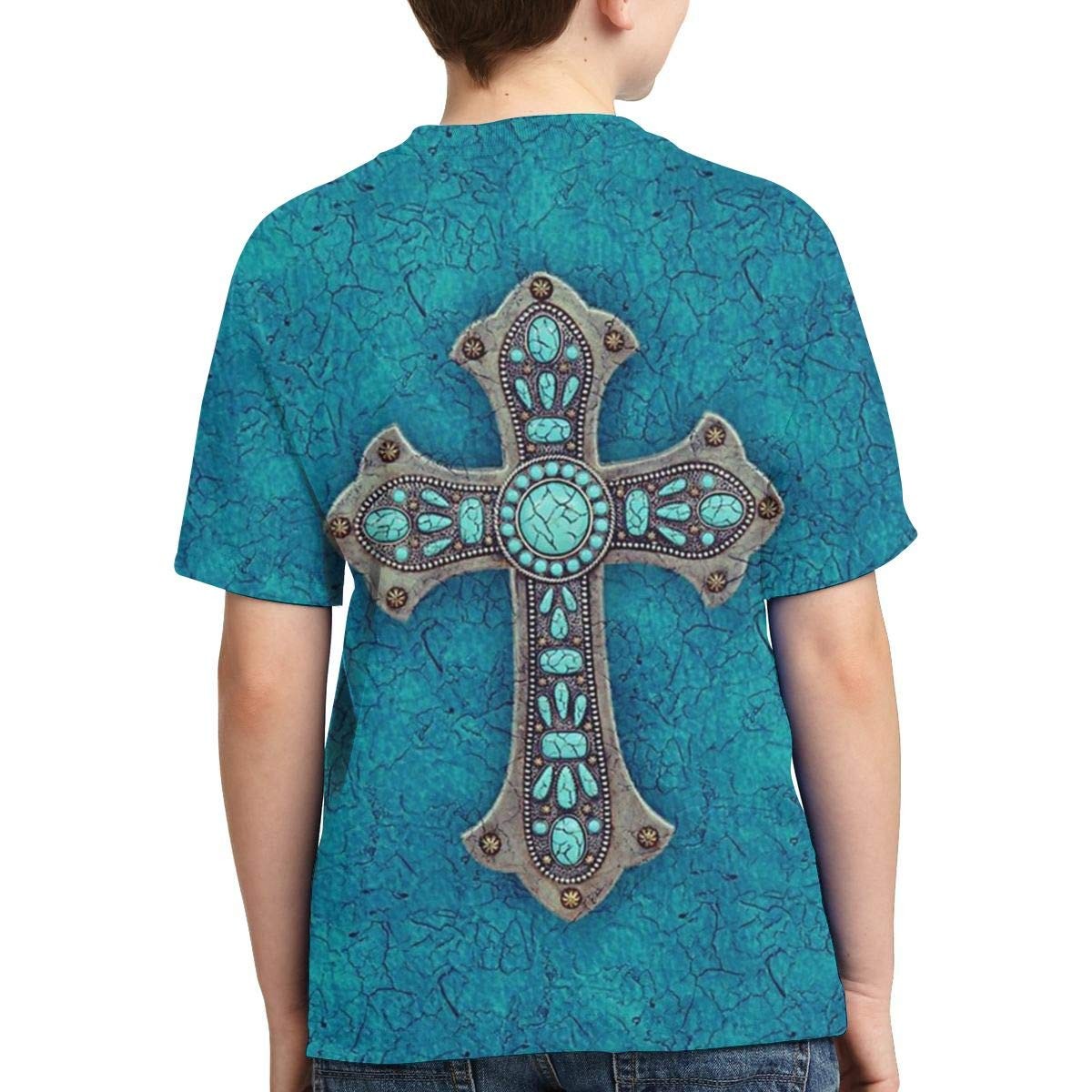 Boys Short Sleeve Turquoise Rustic Cross American Country Style 3D Printed T-Shirts Summer Cool Youth Kids Tees