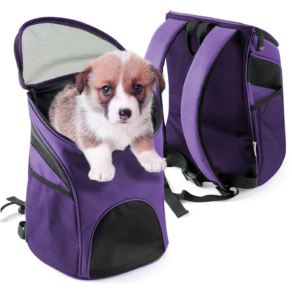 Multi-use Breathable Pet Backpack Cats and Dogs Pet bag Carrier Portable Mesh Pup Travel Dog House Airline Approved Hold Pet up to 10 lb (Purple)