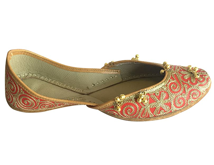 Step n Style Mujer Oro Rojo Punjabi jutti Ghungroo Zapatos étnico hecho a mano Khussa Zapatos, color Rojo, talla 40