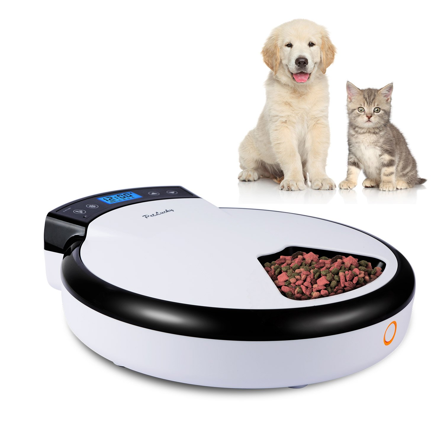 Petlucky Automatic Pet Feeder for Dogs and Cats with Voice Reminding,5-Meal,Dry &Wet Food,LCD Display,Healthier, 240ml x 5