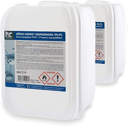 2 X 10 L Isopropanol 99 9 Ipa Von Höfer Chemie Frisch Abgefüllt Im Handlichen 10 L Kanister Perfekt Als Lösungsmittel Und Fettlöser Geeignet Drogerie Körperpflege