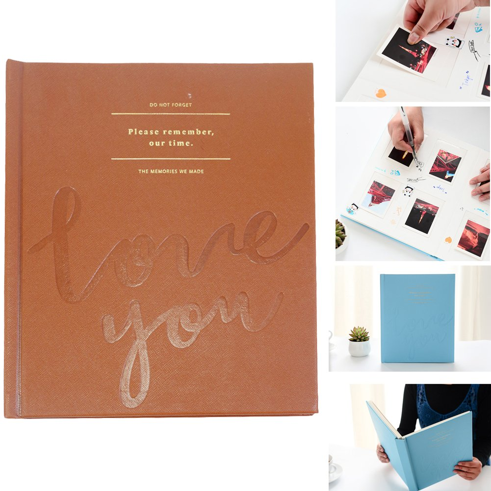 SAIKA Fabric Frame/Sewn Leatherette Frame Cover Book Album for 3 Inches Prints - LOVE YOU (Brown)