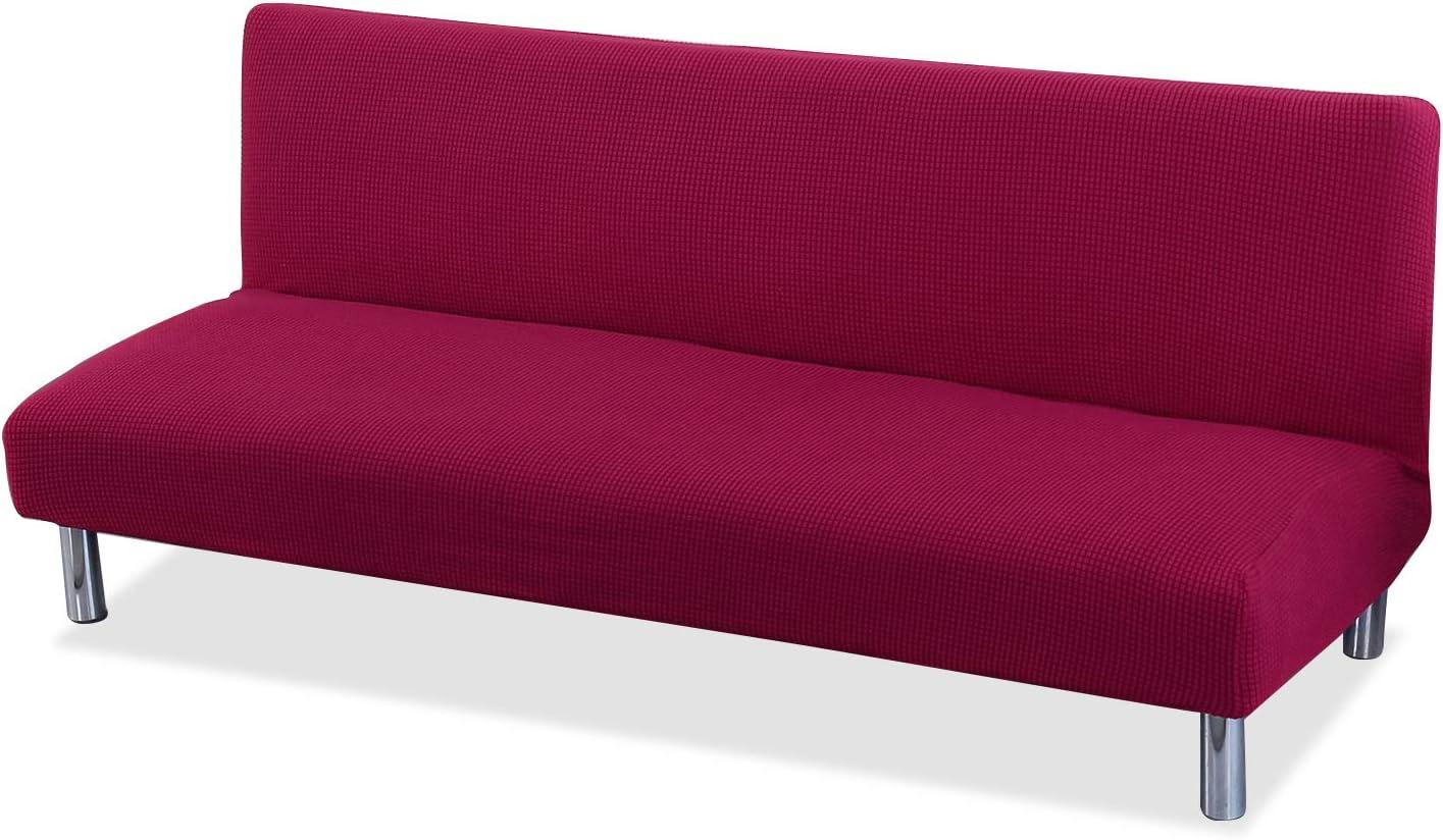 PETCUTE Funda de sofá Clic clac elástica Funda Sofa sin reposabrazos Funda de sofá Cama Rojo