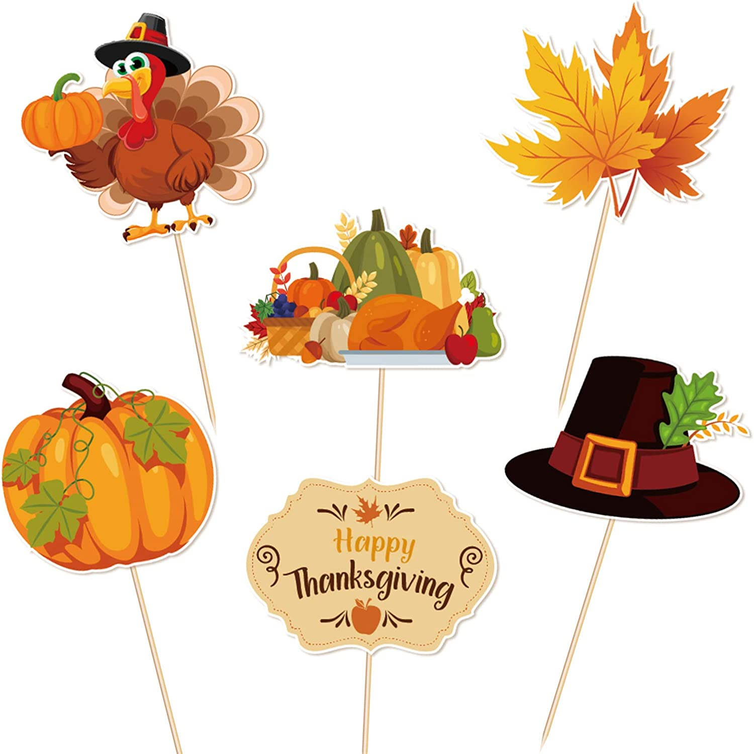 Thanksgiving Food Picks Cupcake Toppers Decorations - Turkey Day Fall Appetizers Toothpicks Sticks Party Supplies 144Ct