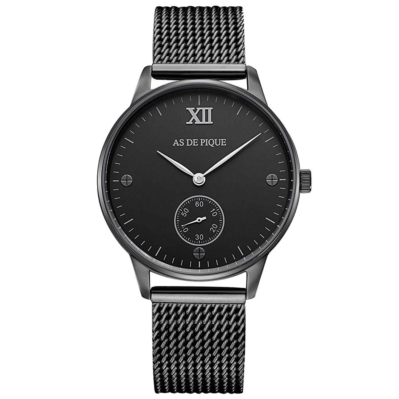 AS DE PIQUE Simple XII Unisex Armbanduhr Sekundenanzeige Schrauben 50m wasserdicht mesh schwarz
