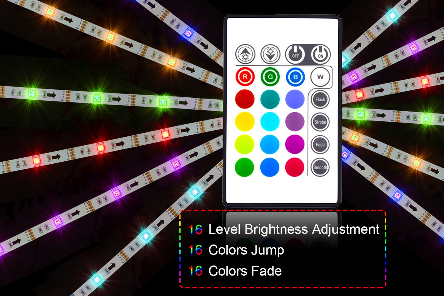 Led Strip Lights 6.56ft for 40-60in TV, PANGTON VILLA USB LED TV Backlight Kit with Remote - 16 Color Changing 5050 LEDs Bias Lighting for HDTV by PANGTON VILLA (Image #5)