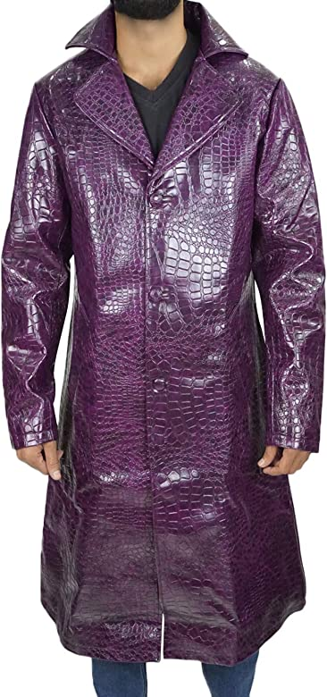All Sizes Joker Suicide Squad Jared Leto Faux Leather Purple Trench Coat