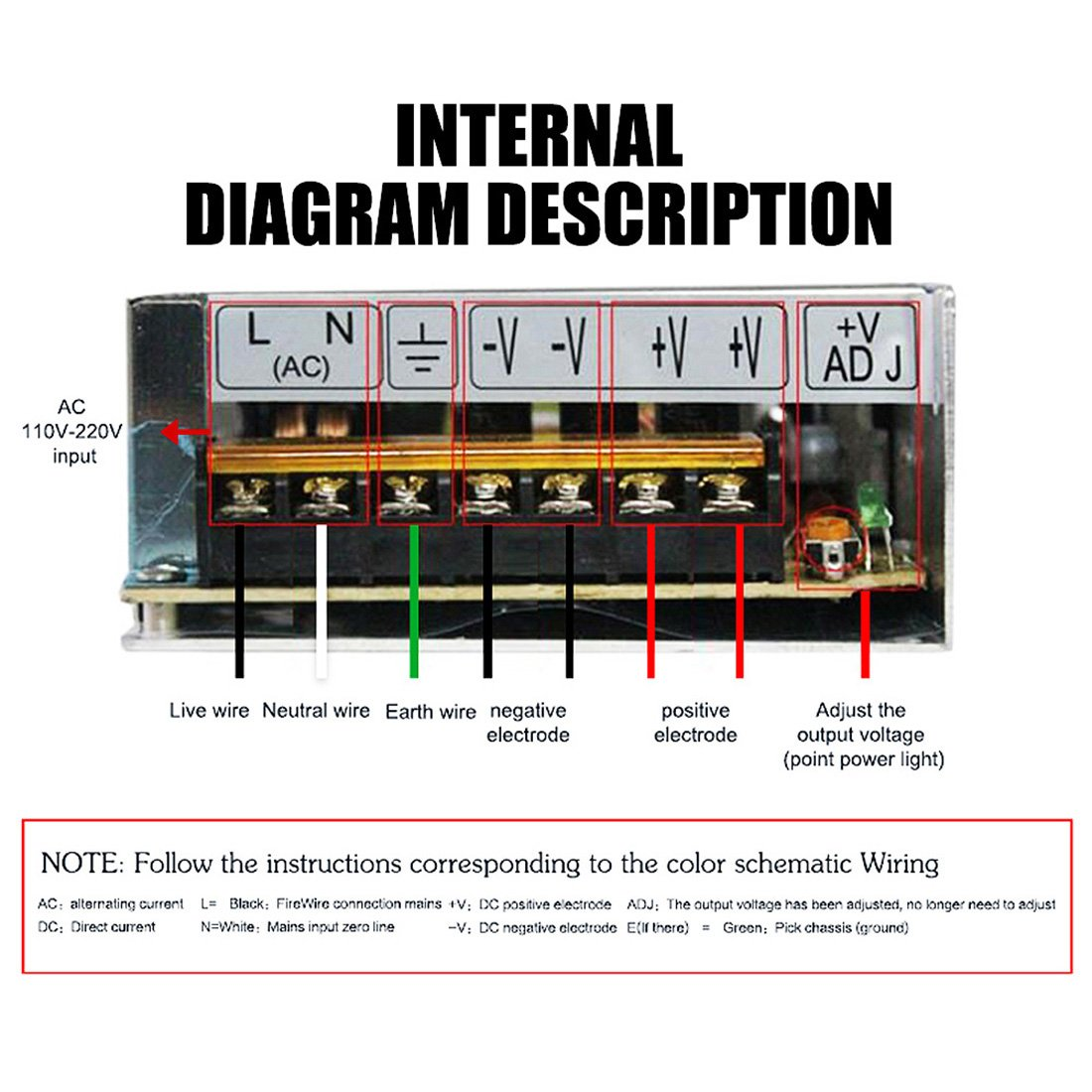 Dc 12v Power Supply 40a Ac 96v 240v Converter Adapter Wiring Diagram 230v Line Neutral Universal Regulated Switching 12volt 500w Led For Strip