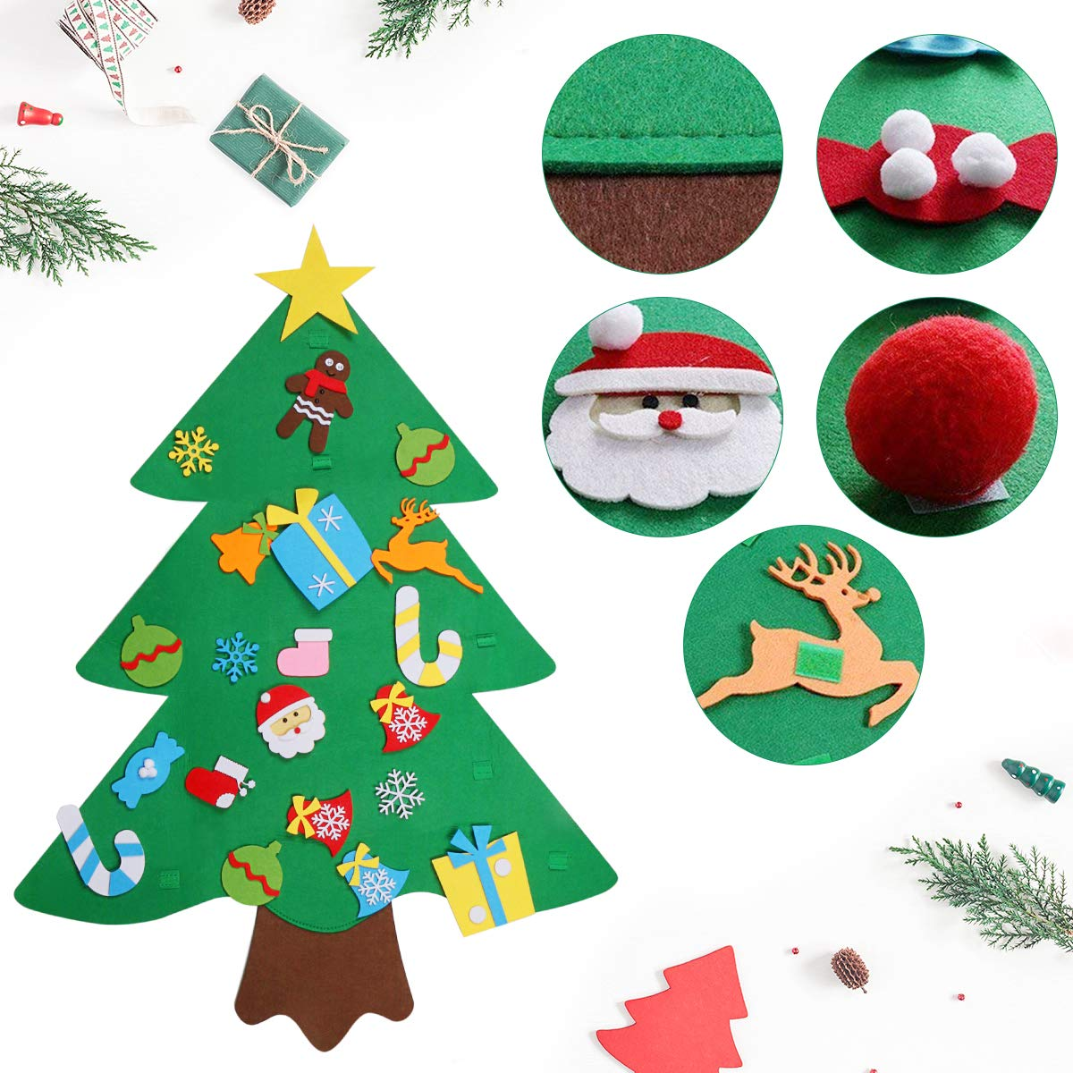 WOSTOO DIY Christmas Tree, Felt Christmas Tree Set Glitter Edition 32 Pieces DIY Decoration Hanging Decor Removable Ornaments for Children Xmas Gifts New Year Door Wall Hanging Decorations