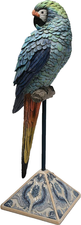 Comfy Hour Farmhouse Home Decor Collection Resin Macaw On Metal Pole Decor 26