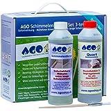 AGO Schimmelentferner + Schimmelstop Set 3tlg. Stärkstes Anti-Schimmel-Mittel auf dem Markt! Für Innen und Außen geeignet.