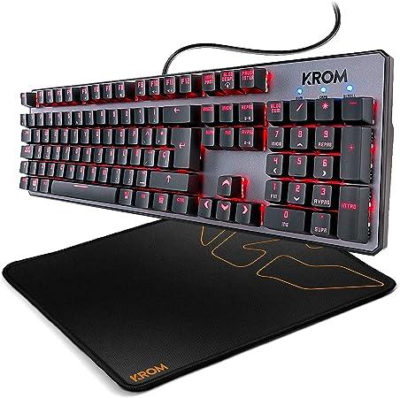 KROM Kernel - NXKROMKRNL - Teclado Gaming Mecánico Compacto, RGB, Color Negro + Knout Kontrol - NXKROMKNTKNTRL - Alfombrilla Gaming, Color Negro