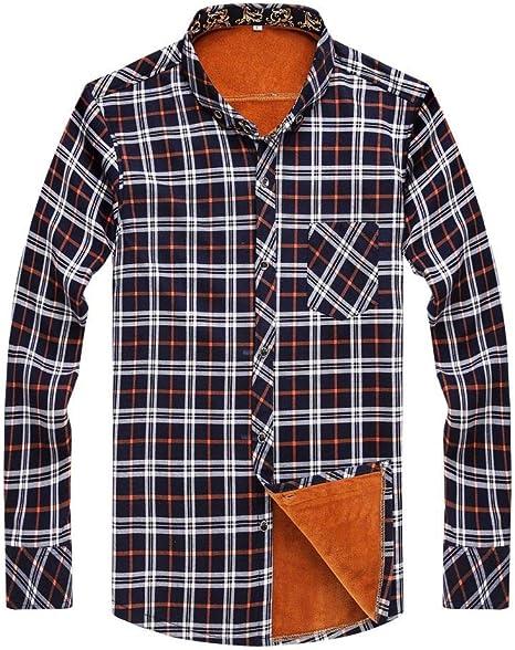 ZHANGSL Baldosas Calientes de la Camisa de Pana de Hombres Camisa Casual Caliente Caliente Gruesa de Franela, adecuados para el otoño y el Invierno a Cuadros Camisa de Trabajo de Espesor: Amazon.es: