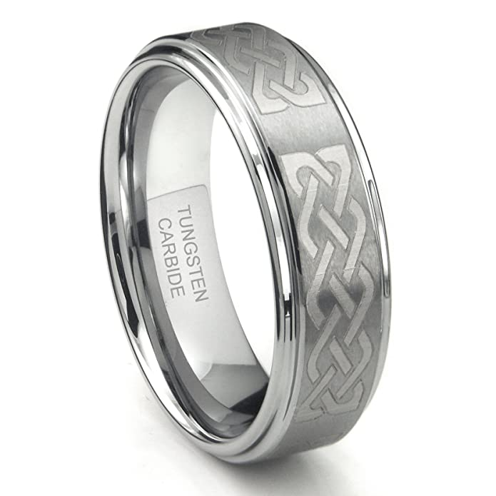 Metal Collections Tungsten Carbide 8mm Wedding Band Ring W Laser