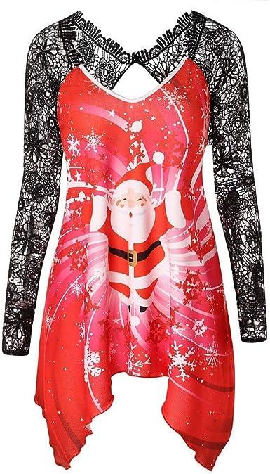 Camisa De Las Mujeres Mujeres Navidad Papá Noel Imprimir Vintage Túnica De Encaje Camiseta De Manga Larga Top De Papá Noel Imprimir Encaje Top Sudaderas Suéter Túnica Blusas Camisetas Tops: Amazon.es: Ropa