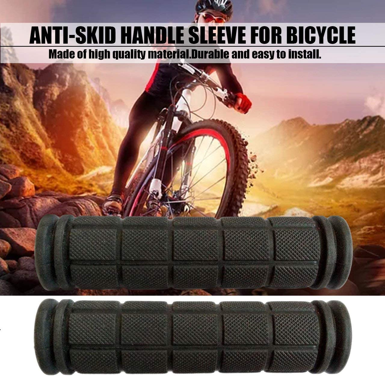 Color:black Garciakia 1 Pair Universal Bike Bicycle Handlebar Cover Grips Anti-slip Soft Rubber Handlebar Cover Cycling Accessories