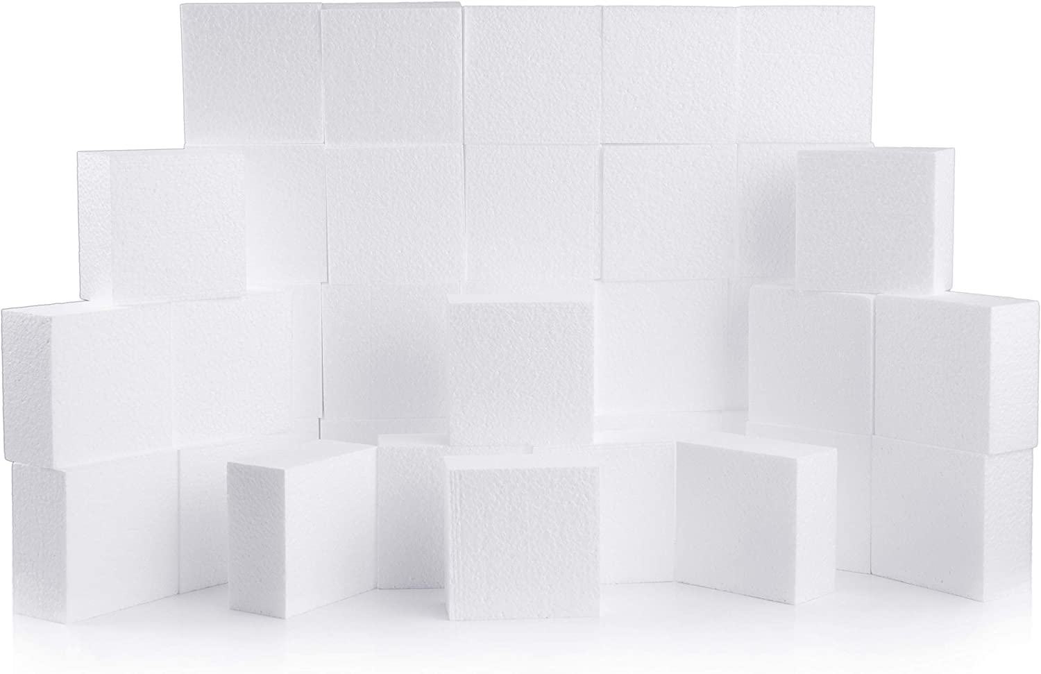 Silverlake Craft Foam Block - 36 Pack of 4x4x2 EPS Polystyrene Blocks for Crafting, Modeling, Art Projects and Floral Arrangements - Sculpting Blocks for DIY School & Home Art Projects (36)