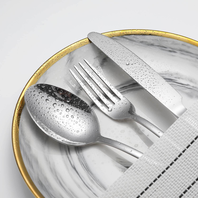 | Silverware Flatware Set, TOPBOOC 24- Piece Stainless Steel Cutlery Set, Utensils Set Service for 4, Include Knife/Fork/Spoon/Steak Knife/Wire Mesh Steel Cutlery Caddy, Mirror Polished (Silver, 24): Flatware Sets